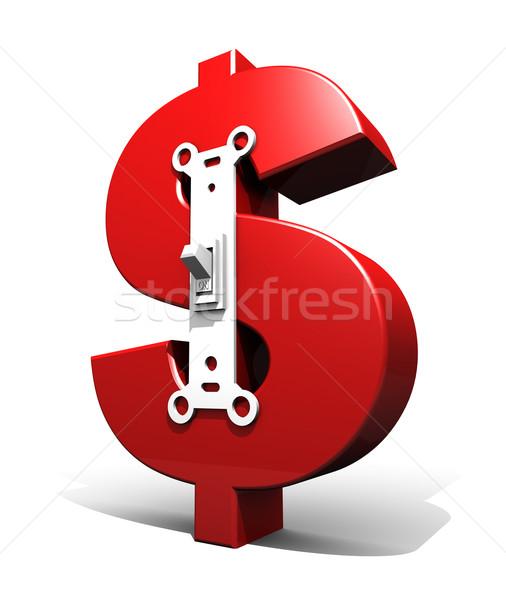 Dólar símbolo poder mudar vermelho 3d render Foto stock © eyeidea