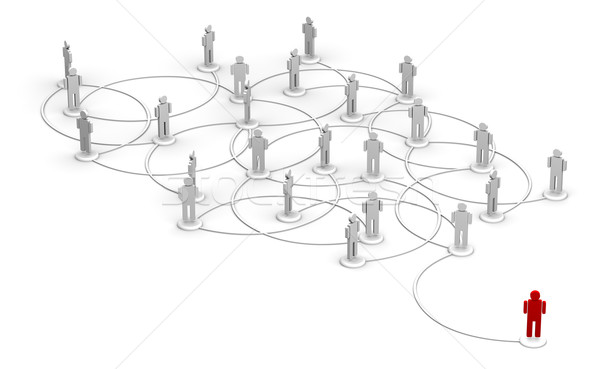 One Red Person Linked to a Network of People Stock photo © eyeidea