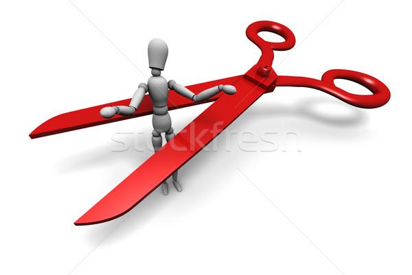 Empregado manequim cortar enorme par vermelho Foto stock © eyeidea