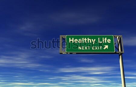 Autobahn exit sign Super groß Auflösung Stock foto © eyeidea