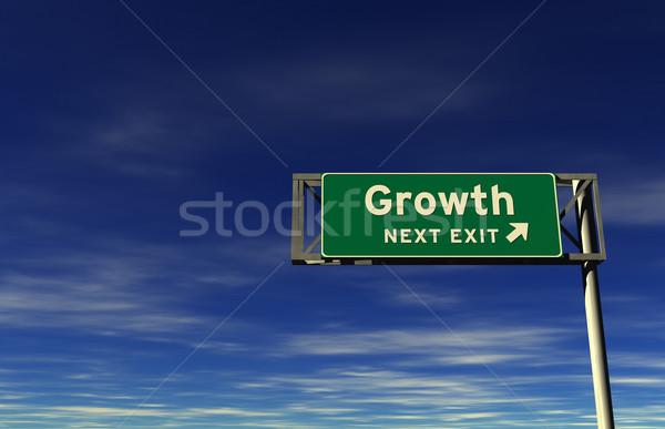 Wachstum Autobahn exit sign Super groß Auflösung Stock foto © eyeidea