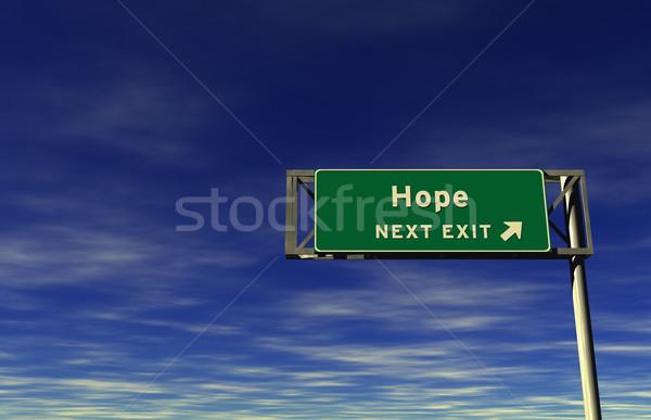 Hoffnung Autobahn exit sign Super groß Auflösung Stock foto © eyeidea