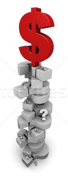 Photo stock: Dollar · symbole · séance · haut · points · d'interrogation · 3d · illustration
