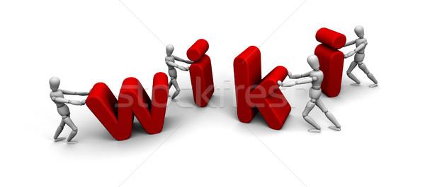 Equipe pessoas empurrando juntos wiki quatro Foto stock © eyeidea