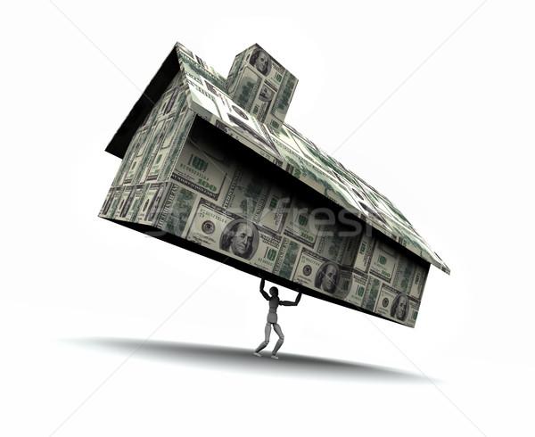 Homem casa numerário ilustração 3d manequim Foto stock © eyeidea