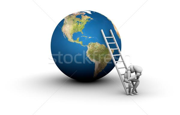 ストックフォト: に達する · 目標 · マネキン · 座って · はしご