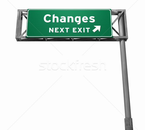 Changes Freeway Exit Sign Stock photo © eyeidea