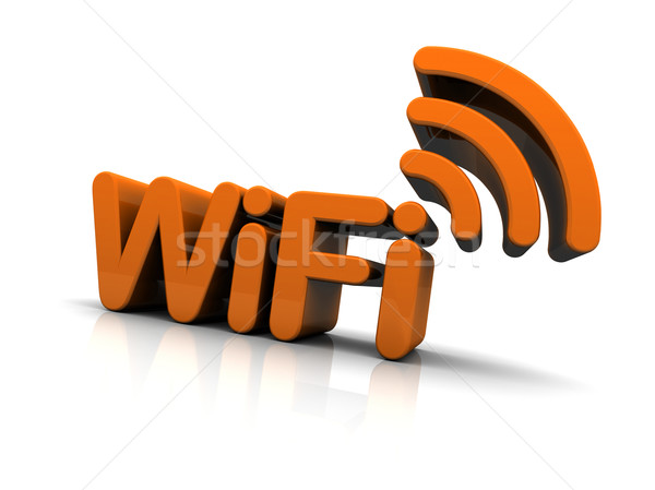 Wifi Text Antenne Symbol isoliert weiß Stock foto © eyeidea