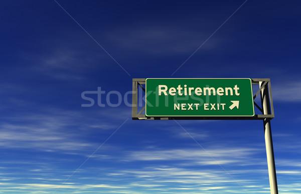 Retraite autoroute exit sign super élevé résolution Photo stock © eyeidea