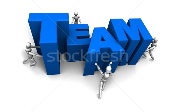 People Pushing Together TEAM Blue Stock photo © eyeidea