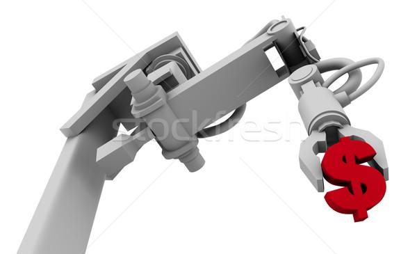 Dollár szimbólum markolás robot kar 3d illusztráció Stock fotó © eyeidea