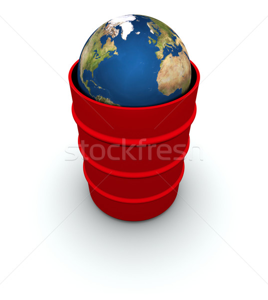 Earth in a Red Trash Can Stock photo © eyeidea