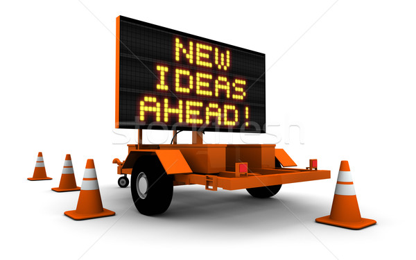 New Ideas Ahead - Road Construction Sign Stock photo © eyeidea