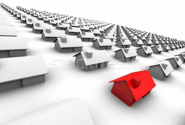 Casas um vermelho alto ilustração Foto stock © eyeidea