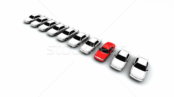 Ten Cars, One Red! Stock photo © eyeidea