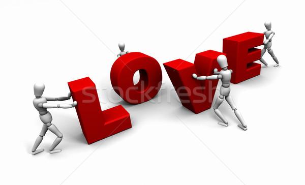 Mensen voortvarend woord liefde samen 3D Stockfoto © eyeidea
