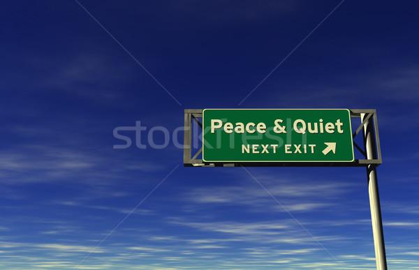 Paz tranquilo autopista señal de salida súper alto Foto stock © eyeidea