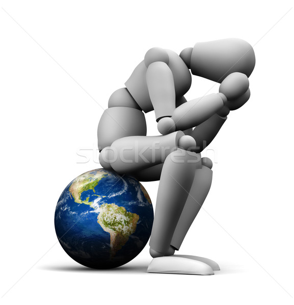 Triste personne séance terre 3d illustration monde Photo stock © eyeidea