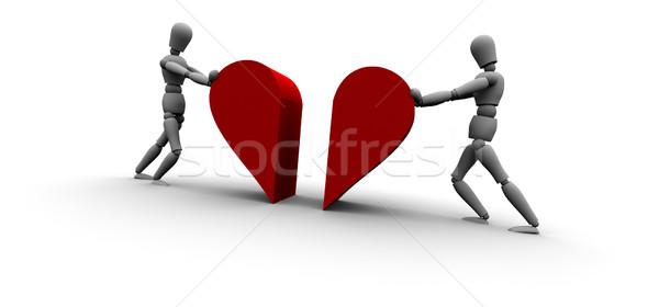 Iki kişi itme kalp ikon birlikte 3D Stok fotoğraf © eyeidea