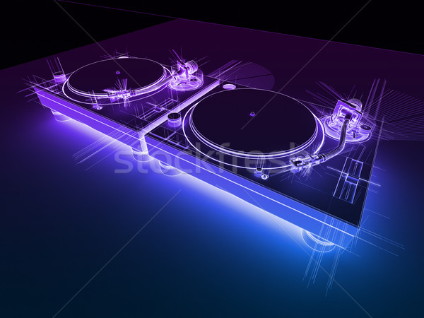 DJ Turntables 3D Neon Sketch Stock photo © eyeidea