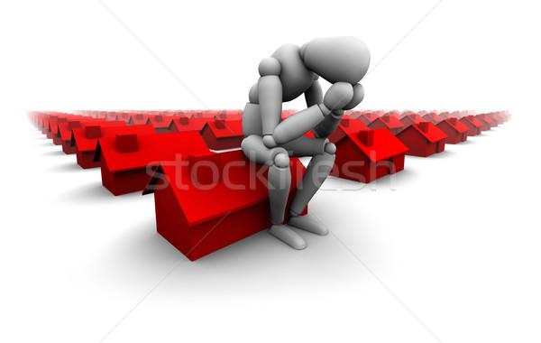 Triste pessoa sessão vermelho casa Foto stock © eyeidea