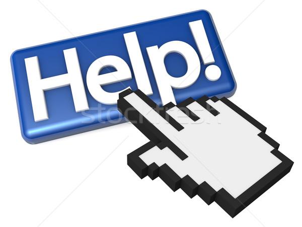 Dedo ajudar botão alto ilustração 3d Foto stock © eyeidea