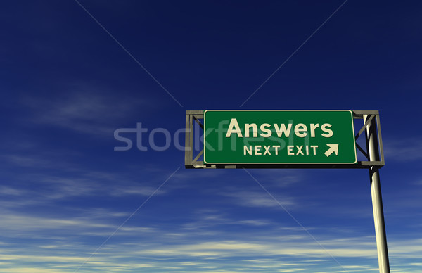 Answers - Next Exit Freeway Sign Stock photo © eyeidea