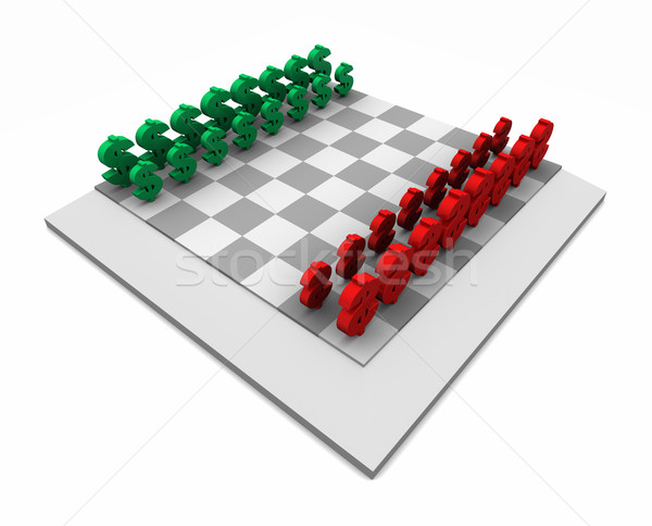 Chess Board with Dollars Red & Green Stock photo © eyeidea