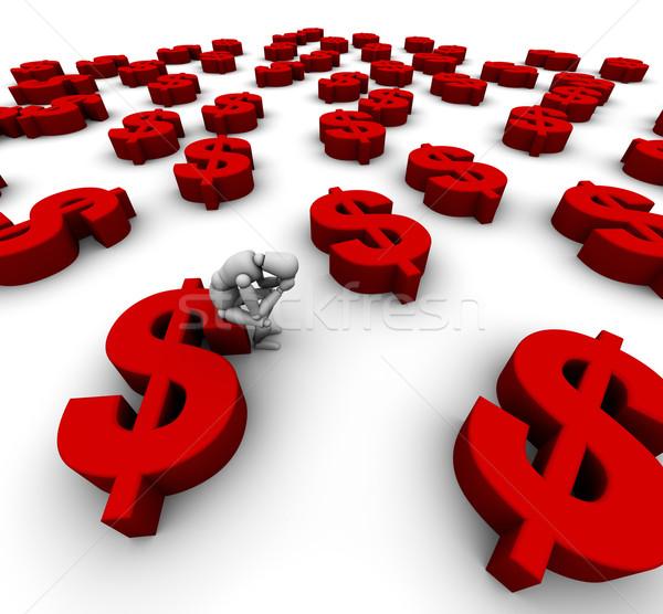Triste mannequin seduta dollaro simbolo 3D Foto d'archivio © eyeidea