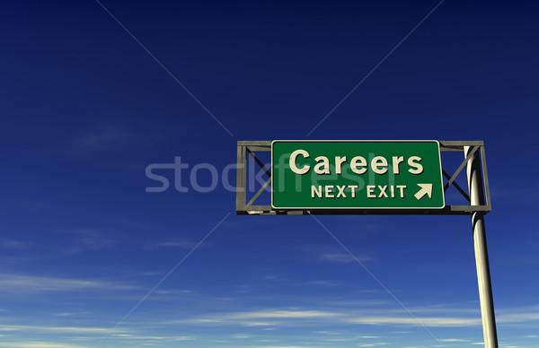 Karrieren Autobahn exit sign Super groß Auflösung Stock foto © eyeidea