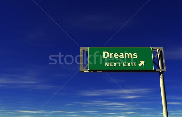 álmok autóút kijárat jelzés Stock fotó © eyeidea