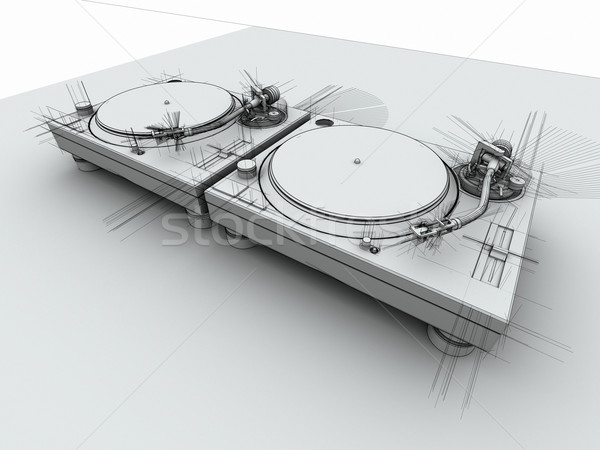 DJ Turntables 3D Sketch Stock photo © eyeidea