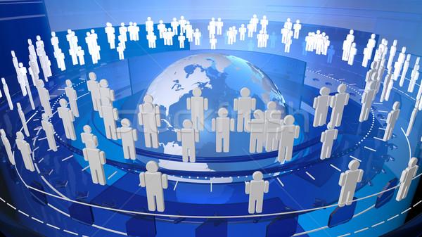 Wereld wereldbol digitale netwerk verbinding mensen Stockfoto © eyeidea
