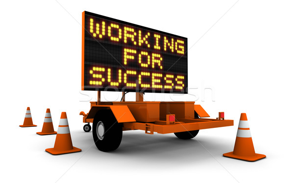 Working for Success - Construction Road Sign Stock photo © eyeidea