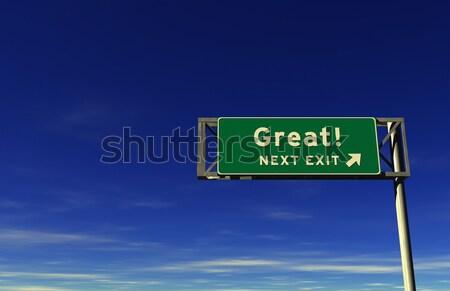 Gott Autobahn exit sign Stock foto © eyeidea