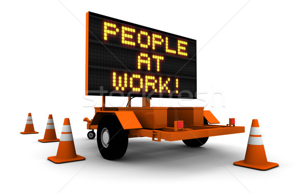 People At Work - Construction Sign Stock photo © eyeidea