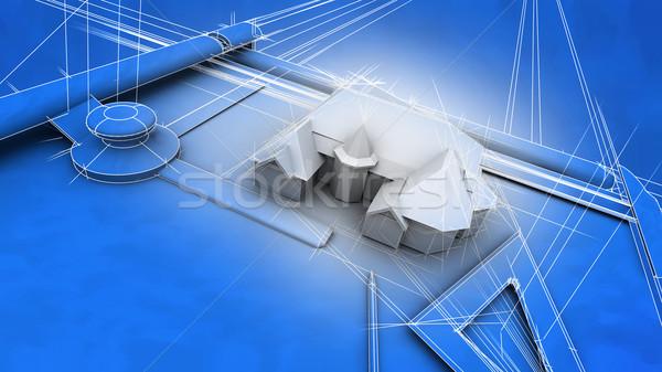 Arquitetônico diagrama casa efeito 3D Foto stock © eyeidea