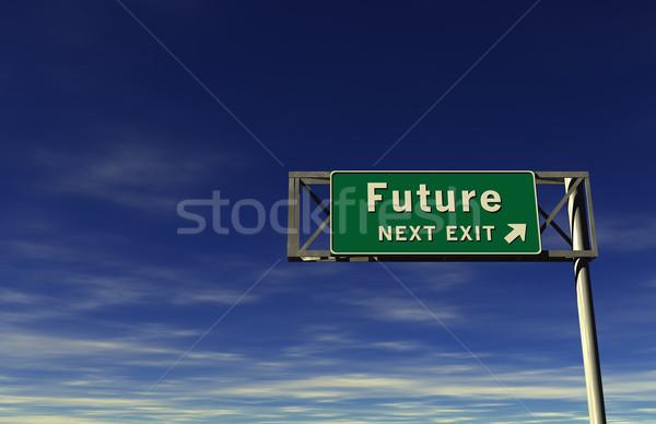 Futuro auto-estrada sinal de saída super alto Foto stock © eyeidea