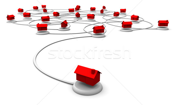 Stock photo: Web Network of Homes