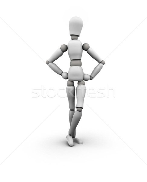 Stockfoto: Etalagepop · permanente · handen · heupen · 3d · illustration · geïsoleerd