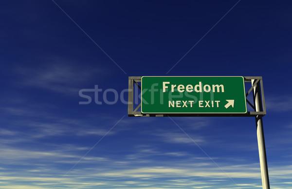 Freiheit Autobahn exit sign Super groß Auflösung Stock foto © eyeidea