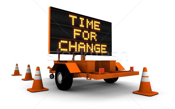 Tijd verandering bouw teken bericht hoog Stockfoto © eyeidea