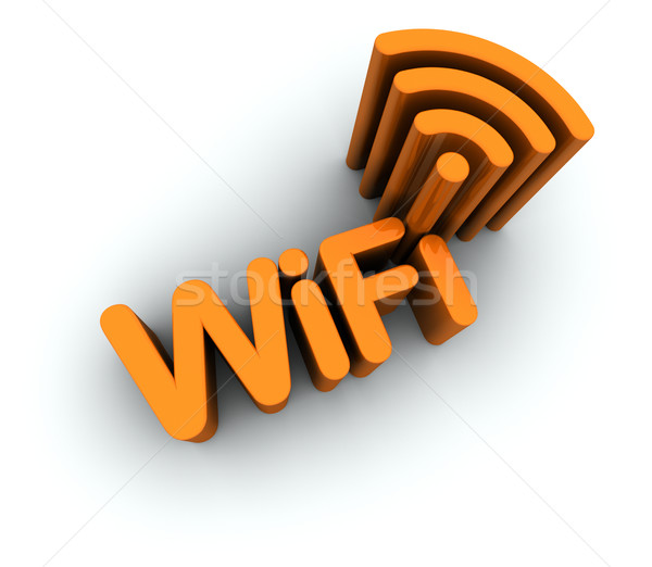 WiFi Text with Antenna Icon Stock photo © eyeidea