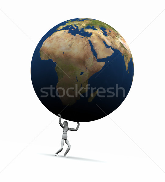 Man Lifting Earth (Europe) Stock photo © eyeidea