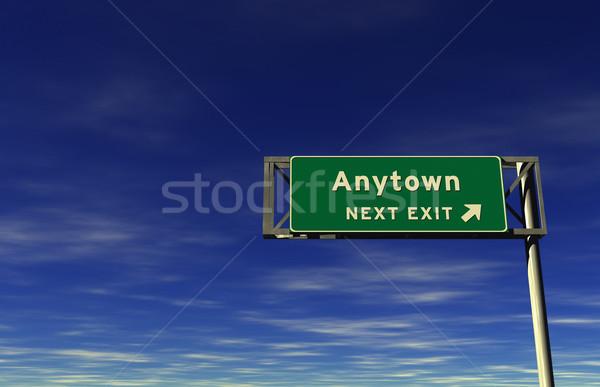 Auto-estrada sinal de saída super alto 3d render Foto stock © eyeidea