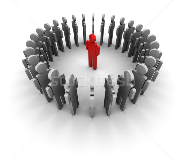 People Form Circle - One Red in the Center Stock photo © eyeidea