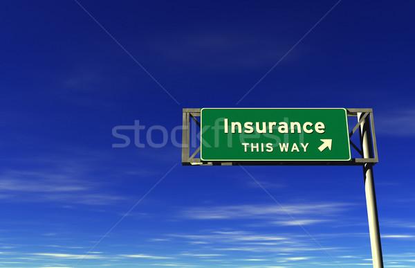 Biztosítás autóút kijárat jelzés 3D Stock fotó © eyeidea