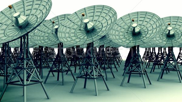 Rádió kommunikáció edények 3d render távcső Stock fotó © eyeidea