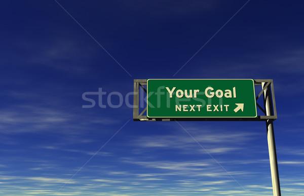 Gol otoban imzalamak çıkmak süper yüksek karar Stok fotoğraf © eyeidea