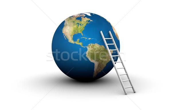 Escada topo mundo ilustração 3d terra Foto stock © eyeidea